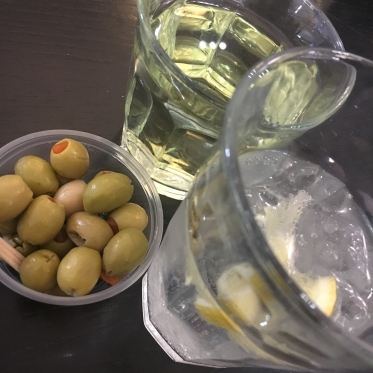 G&T and Olives at the airport lounge